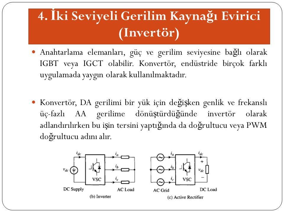 4. İ ki Seviyeli Gerilim Kayna ğ ı Evirici (Invertör) Anahtarlama elemanları, güç ve gerilim seviyesine ba ğ lı olarak IGBT veya IGCT olabilir. Konver
