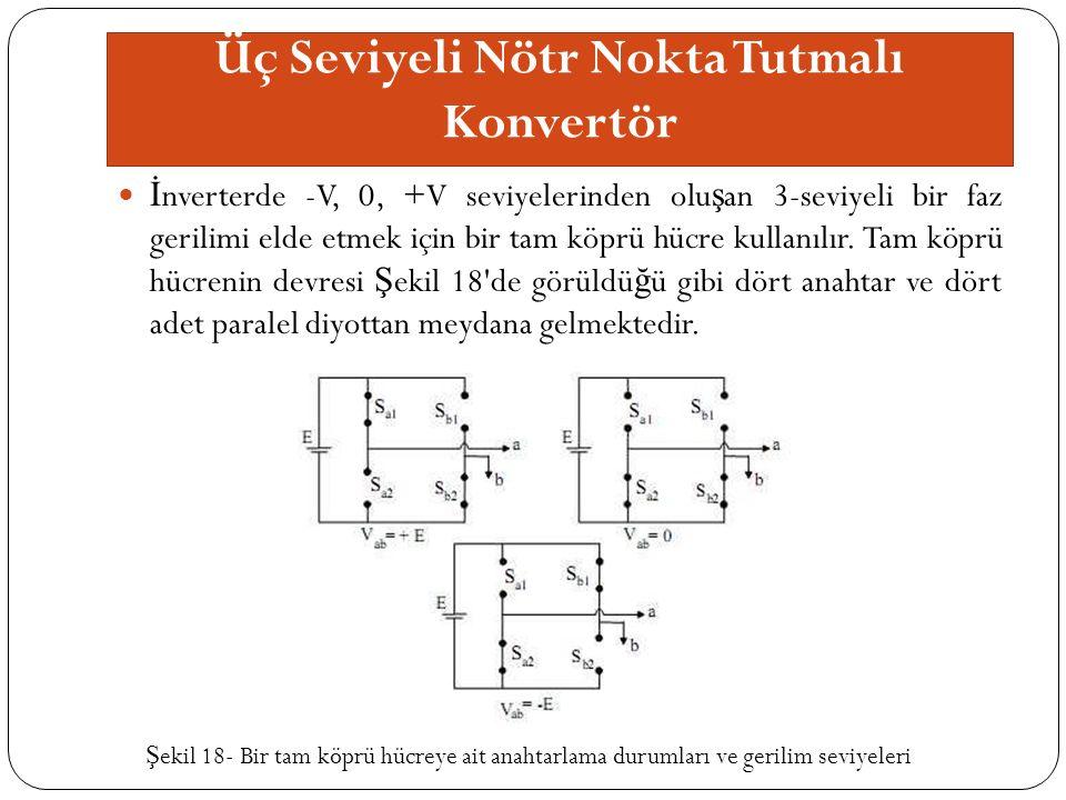 Üç Seviyeli Nötr Nokta Tutmalı Konvertör İ nverterde -V, 0, +V seviyelerinden olu ş an 3-seviyeli bir faz gerilimi elde etmek için bir tam köprü hücre kullanılır.