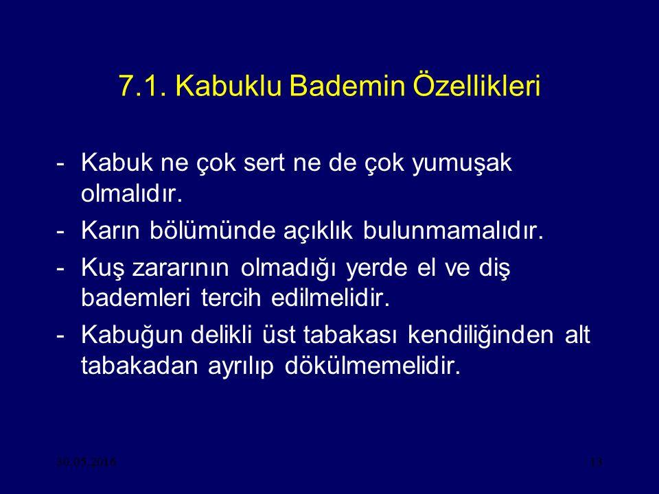 30.05.201613 7.1. Kabuklu Bademin Özellikleri -Kabuk ne çok sert ne de çok yumuşak olmalıdır. -Karın bölümünde açıklık bulunmamalıdır. -Kuş zararının