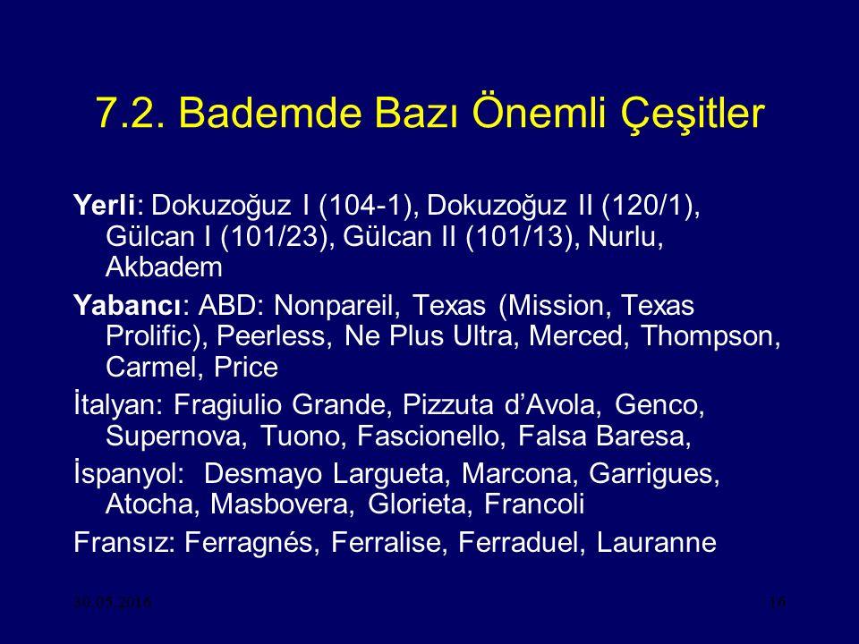 30.05.201616 7.2. Bademde Bazı Önemli Çeşitler Yerli: Dokuzoğuz I (104-1), Dokuzoğuz II (120/1), Gülcan I (101/23), Gülcan II (101/13), Nurlu, Akbadem