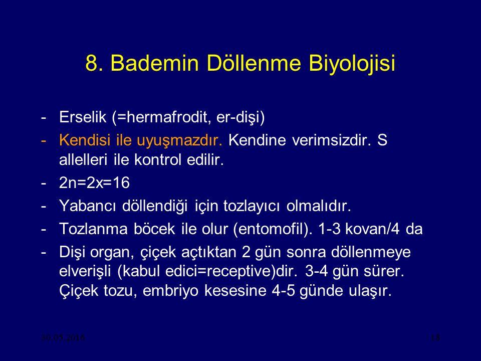 30.05.201618 8. Bademin Döllenme Biyolojisi -Erselik (=hermafrodit, er-dişi) -Kendisi ile uyuşmazdır. Kendine verimsizdir. S allelleri ile kontrol edi
