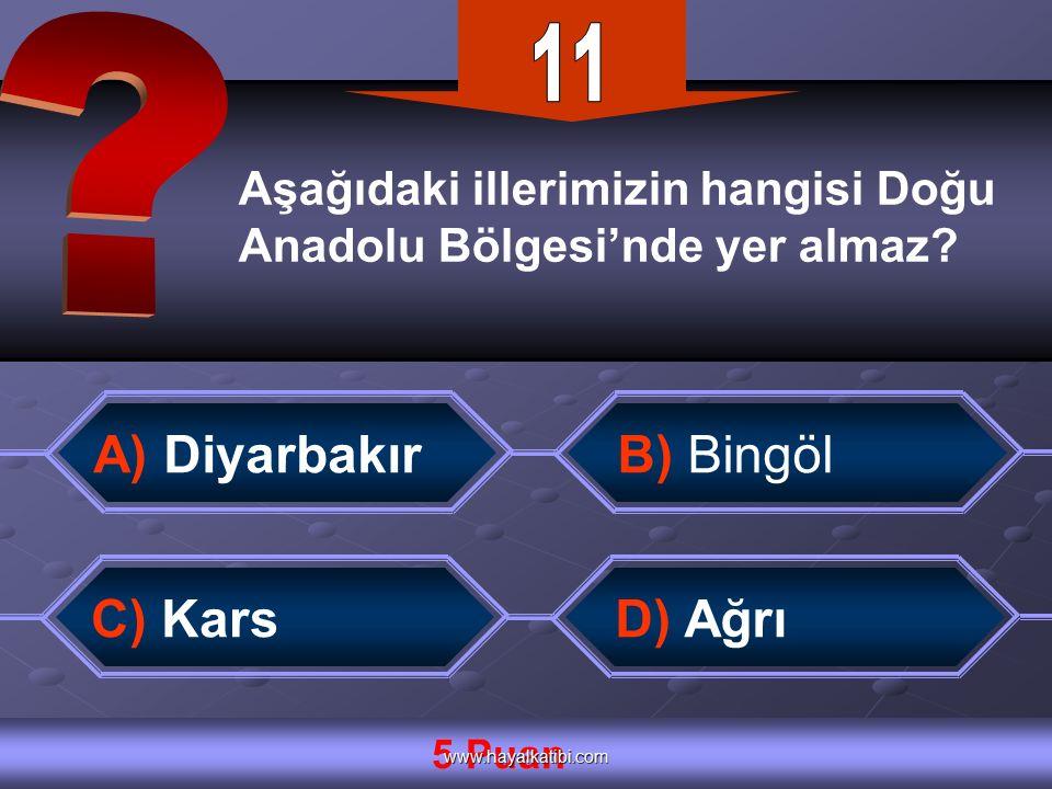 Aşağıdaki illerimizin hangisi Doğu Anadolu Bölgesi'nde yer almaz.