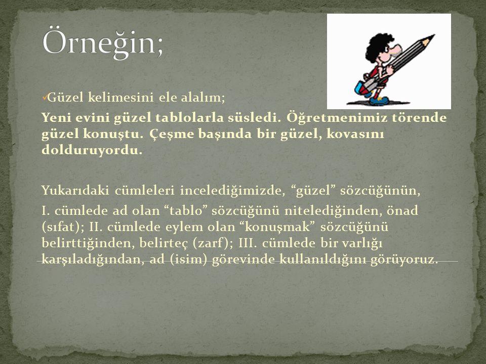 Türkçede sözcükler tür bakımından 8' ayrlır; Ad (İsim) Adıl (Zamir) Önad (Sıfat) Belirteç (Zarf) İlgeç (Edat) Bağlaç Ünlem Eylem (Fiil)