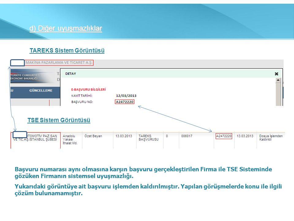 d) Diğer uyuşmazlıklar TAREKS Sistem Görüntüsü TSE Sistem Görüntüsü Başvuru numarası aynı olmasına karşın başvuru gerçekleştirilen Firma ile TSE Sisteminde gözüken Firmanın sistemsel uyuşmazlığı.