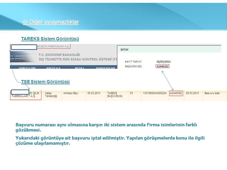 d) Diğer uyuşmazlıklar TAREKS Sistem Görüntüsü TSE Sistem Görüntüsü Başvuru numarası aynı olmasına karşın iki sistem arasında Firma isimlerinin farklı gözükmesi.