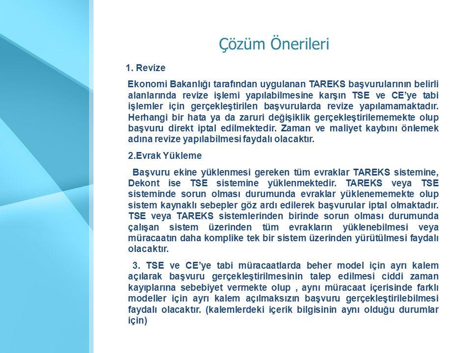 1. Revize Ekonomi Bakanlığı tarafından uygulanan TAREKS başvurularının belirli alanlarında revize işlemi yapılabilmesine karşın TSE ve CE'ye tabi işle