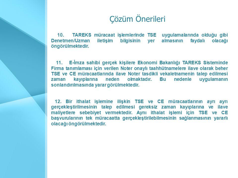 10. TAREKS müracaat işlemlerinde TSE uygulamalarında olduğu gibi Denetmen/Uzman iletişim bilgisinin yer almasının faydalı olacağı öngörülmektedir. 11.