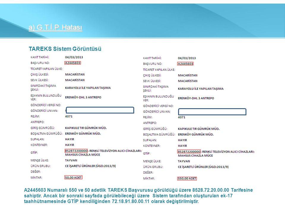 TAREKS Sistem Görüntüsü A2445603 Numaralı 550 ve 50 adetlik TAREKS Başvurusu görüldüğü üzere 8528.72.20.00.00 Tarifesine sahiptir.