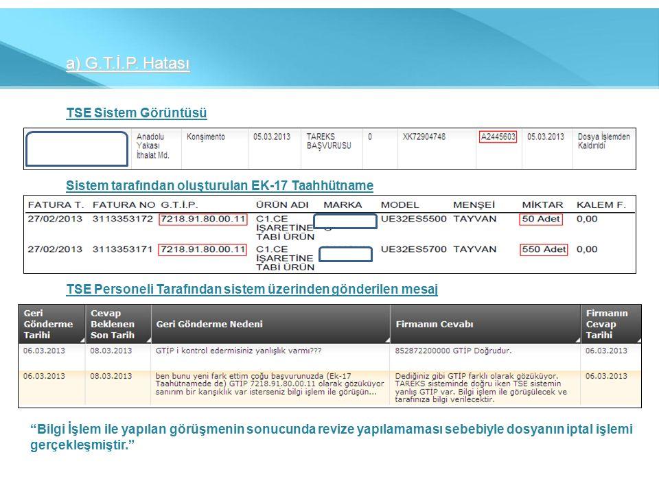 TSE Sistem Görüntüsü Sistem tarafından oluşturulan EK-17 Taahhütname TSE Personeli Tarafından sistem üzerinden gönderilen mesaj Bilgi İşlem ile yapılan görüşmenin sonucunda revize yapılamaması sebebiyle dosyanın iptal işlemi gerçekleşmiştir.