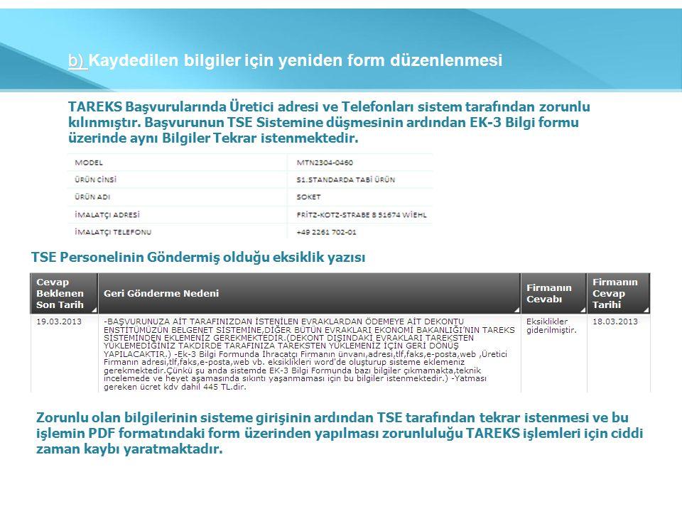 b) b) Kaydedilen bilgiler için yeniden form düzenlenmesi TAREKS Başvurularında Üretici adresi ve Telefonları sistem tarafından zorunlu kılınmıştır.