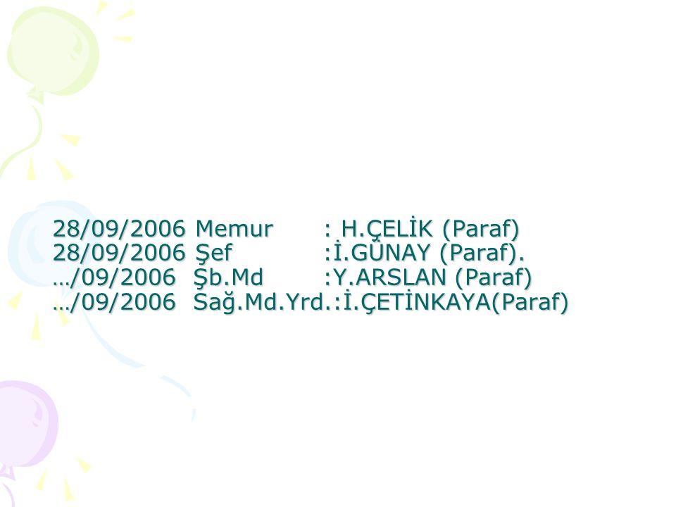 28/09/2006 Memur: H.ÇELİK (Paraf) 28/09/2006 Şef:İ.GÜNAY (Paraf). …/09/2006 Şb.Md:Y.ARSLAN (Paraf) …/09/2006 Sağ.Md.Yrd.:İ.ÇETİNKAYA(Paraf)