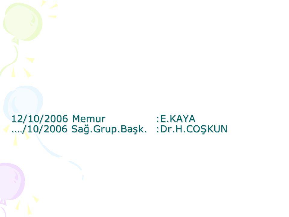 12/10/2006 Memur:E.KAYA.…/10/2006 Sağ.Grup.Başk.:Dr.H.COŞKUN