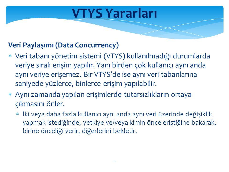 11 VTYS Yararları Veri Paylaşımı (Data Concurrency)  Veri tabanı yönetim sistemi (VTYS) kullanılmadığı durumlarda veriye sıralı erişim yapılır.