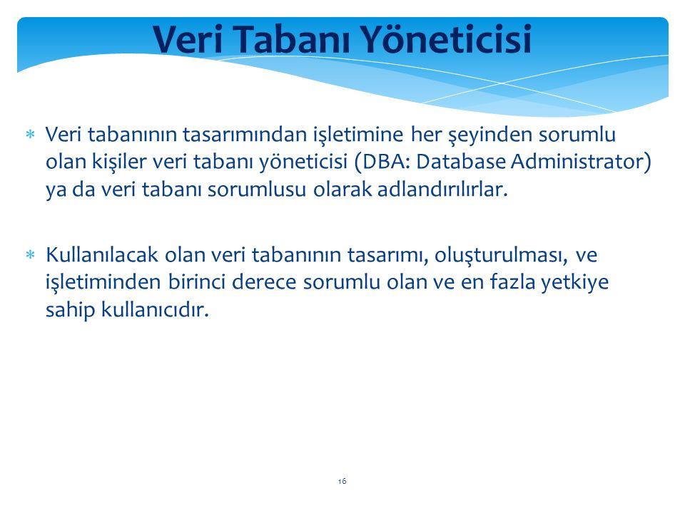 16 Veri Tabanı Yöneticisi  Veri tabanının tasarımından işletimine her şeyinden sorumlu olan kişiler veri tabanı yöneticisi (DBA: Database Administrator) ya da veri tabanı sorumlusu olarak adlandırılırlar.