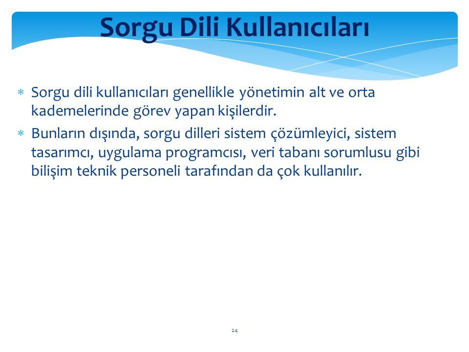 24 Sorgu Dili Kullanıcıları  Sorgu dili kullanıcıları genellikle yönetimin alt ve orta kademelerinde görev yapan kişilerdir.