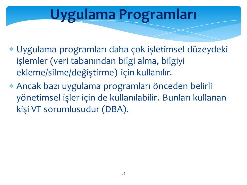 26 Uygulama Programları  Uygulama programları daha çok işletimsel düzeydeki işlemler (veri tabanından bilgi alma, bilgiyi ekleme/silme/değiştirme) için kullanılır.