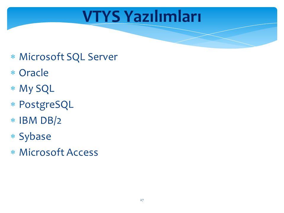 27 VTYS Yazılımları  Microsoft SQL Server  Oracle  My SQL  PostgreSQL  IBM DB/2  Sybase  Microsoft Access