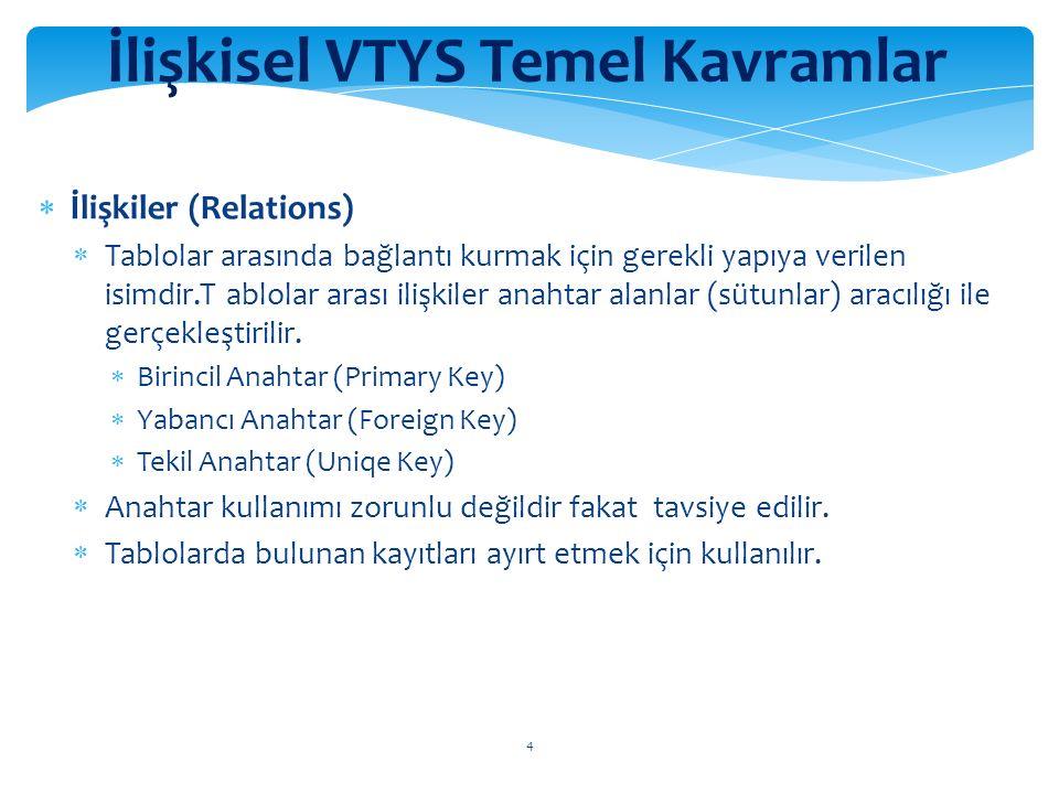 4 İlişkisel VTYS Temel Kavramlar  İlişkiler (Relations)  Tablolar arasında bağlantı kurmak için gerekli yapıya verilen isimdir.T ablolar arası ilişkiler anahtar alanlar (sütunlar) aracılığı ile gerçekleştirilir.