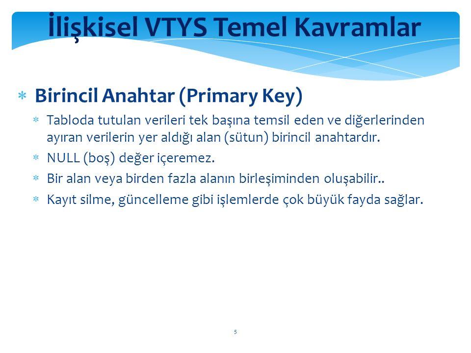 6 İlişkisel VTYS Temel Kavramlar  Yabancı Anahtar (Foreign Key)  Herhangi bir birincil anahtarla (aynı tablodaki veya farklı tablodaki) ilişkilendirilen alan yabancı anahtar olarak adlandırılır.