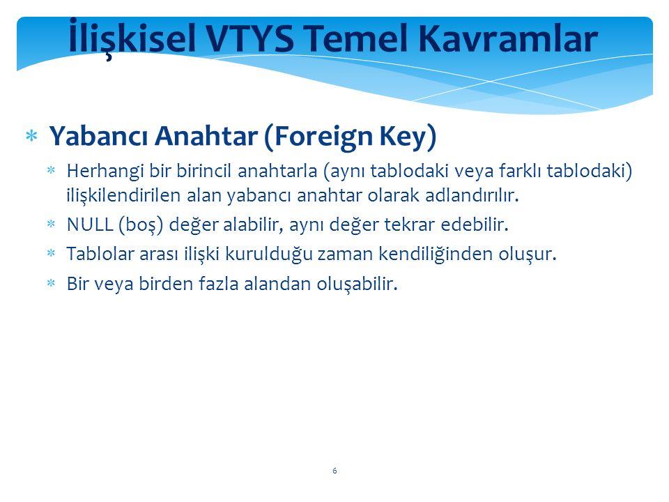 7 İlişkisel VTYS Temel Kavramlar  Tekil Anahtar (Uniqe Key)  Birincil anahtarla özellikleri aynıdır fakat NULL değer alabilir.