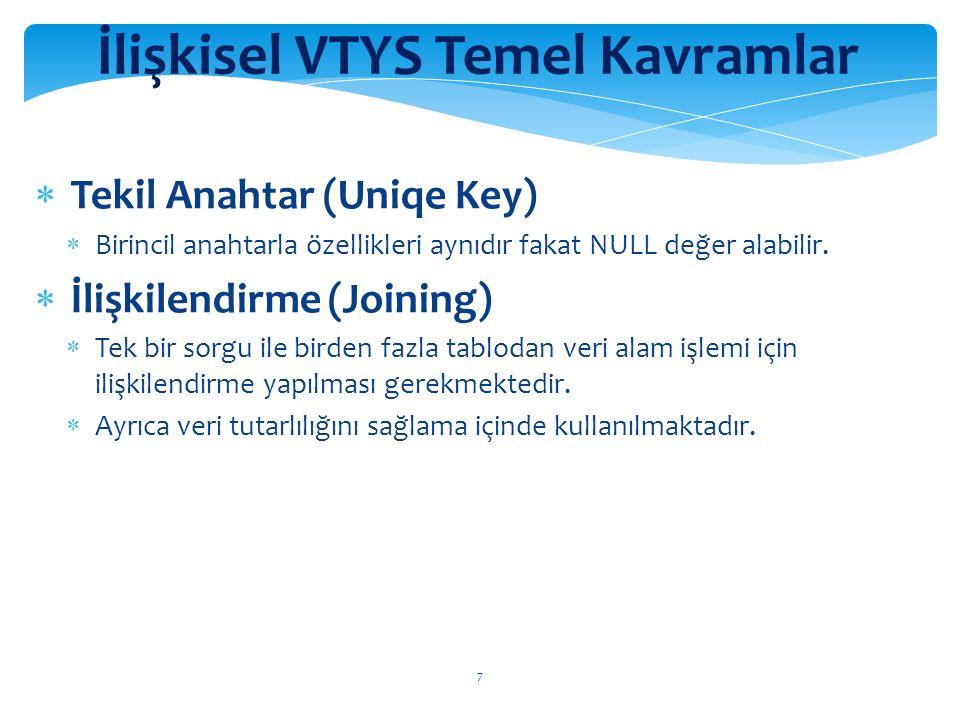 8 İlişkisel VTYS Temel Kavramlar  Geçerlilik Kuralı  Her hangi bir alana girilecek verileri sınırlamak için kullanılan özelliktir.