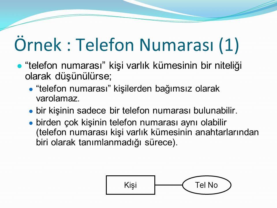 Örnek : Telefon Numarası (1) ● telefon numarası kişi varlık kümesinin bir niteliği olarak düşünülürse; ● telefon numarası kişilerden bağımsız olarak varolamaz.