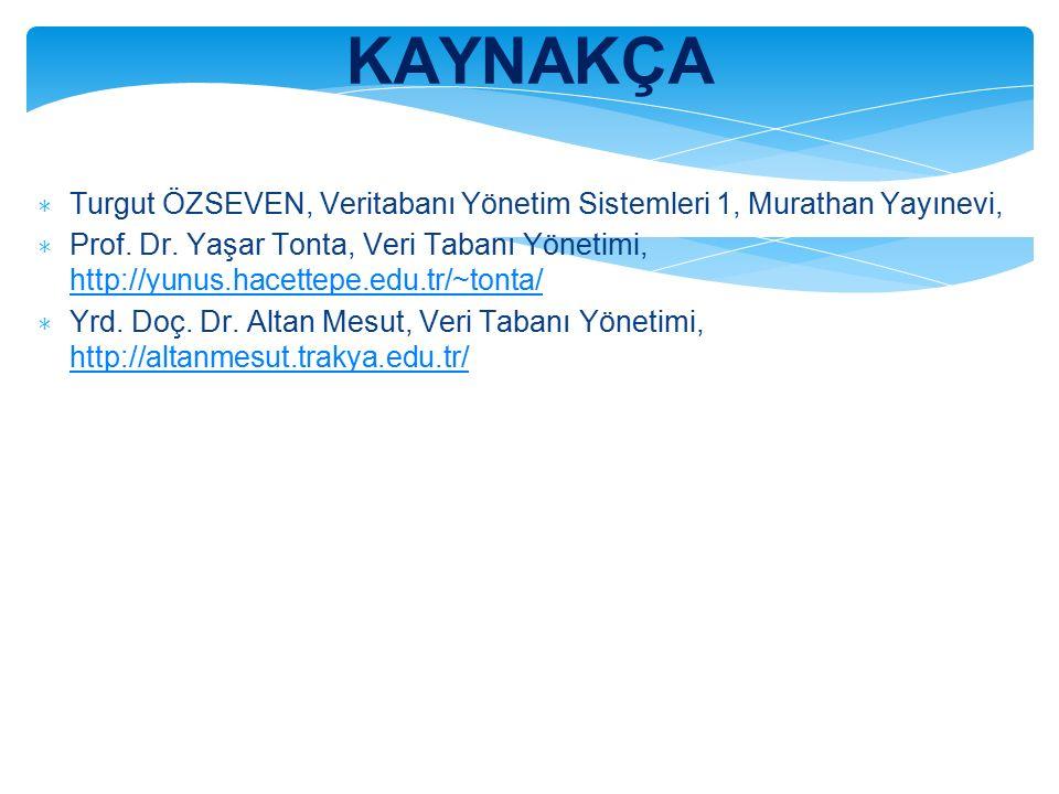 KAYNAKÇA ∗ Turgut ÖZSEVEN, Veritabanı Yönetim Sistemleri 1, Murathan Yayınevi, ∗ Prof.