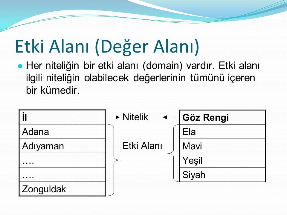 Etki Alanı (Değer Alanı) ● Her niteliğin bir etki alanı (domain) vardır.
