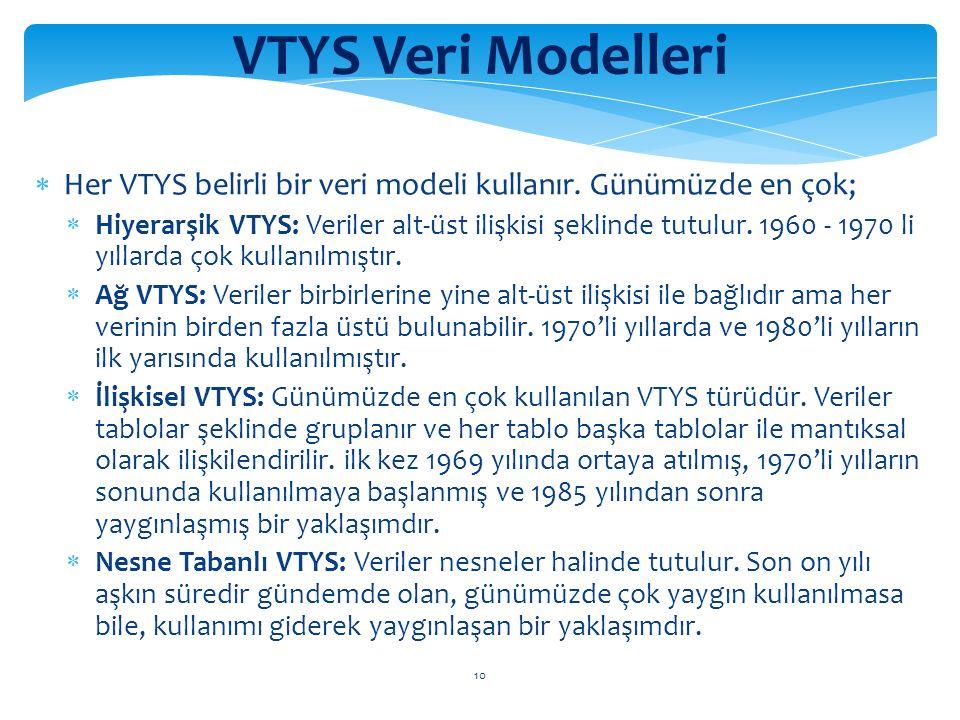 10 VTYS Veri Modelleri  Her VTYS belirli bir veri modeli kullanır.