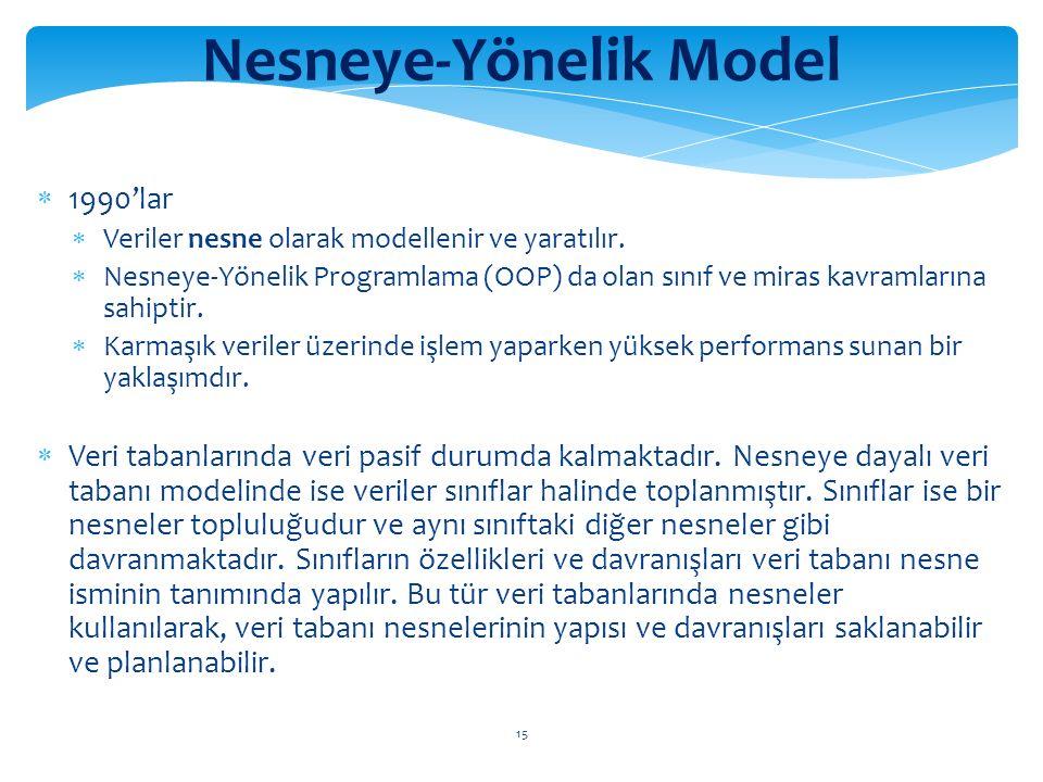 15 Nesneye-Yönelik Model  1990'lar  Veriler nesne olarak modellenir ve yaratılır.