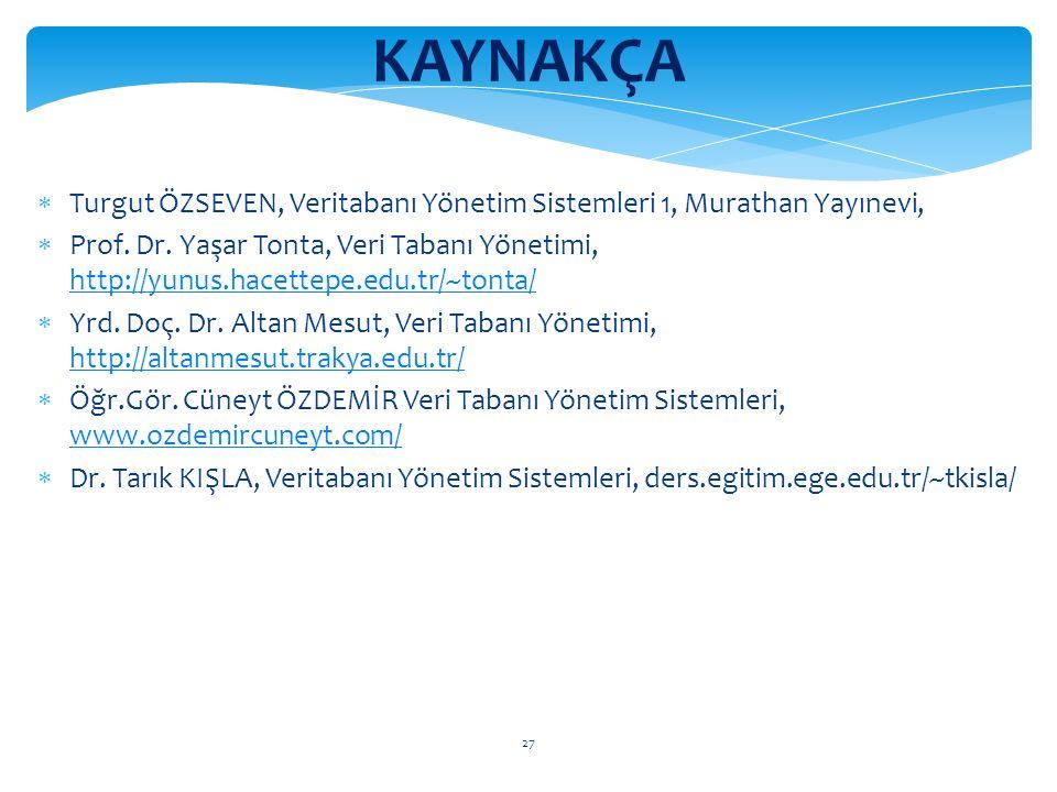 27 KAYNAKÇA  Turgut ÖZSEVEN, Veritabanı Yönetim Sistemleri 1, Murathan Yayınevi,  Prof.