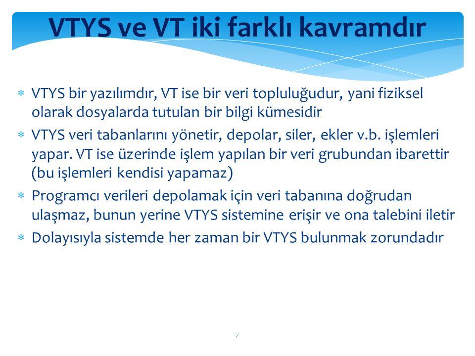 7 VTYS ve VT iki farklı kavramdır  VTYS bir yazılımdır, VT ise bir veri topluluğudur, yani fiziksel olarak dosyalarda tutulan bir bilgi kümesidir  VTYS veri tabanlarını yönetir, depolar, siler, ekler v.b.