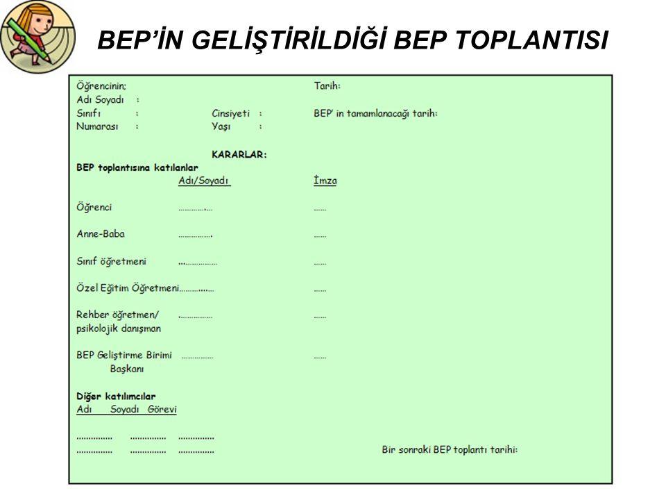 BEP'İN GELİŞTİRİLDİĞİ BEP TOPLANTISI