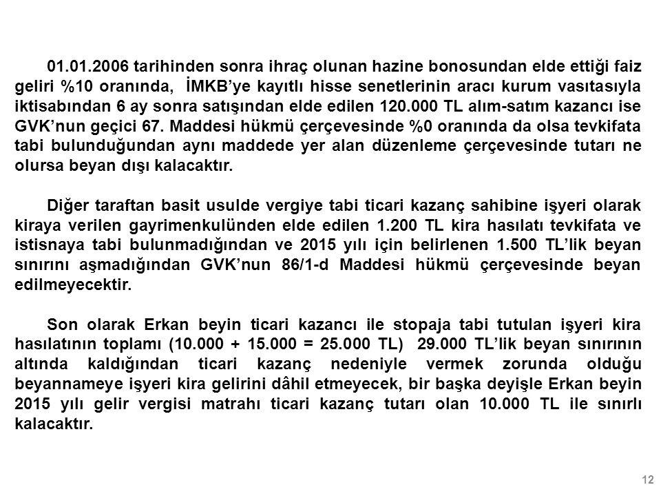 12 01.01.2006 tarihinden sonra ihraç olunan hazine bonosundan elde ettiği faiz geliri %10 oranında, İMKB'ye kayıtlı hisse senetlerinin aracı kurum vasıtasıyla iktisabından 6 ay sonra satışından elde edilen 120.000 TL alım-satım kazancı ise GVK'nun geçici 67.