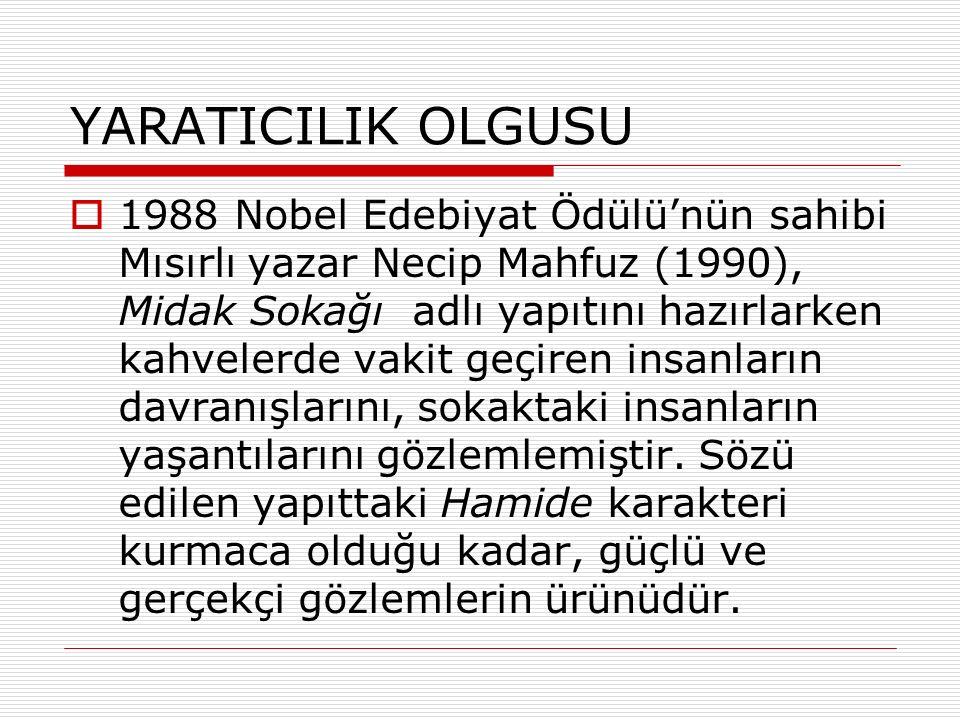 YARATICILIK OLGUSU  1988 Nobel Edebiyat Ödülü'nün sahibi Mısırlı yazar Necip Mahfuz (1990), Midak Sokağı adlı yapıtını hazırlarken kahvelerde vakit geçiren insanların davranışlarını, sokaktaki insanların yaşantılarını gözlemlemiştir.