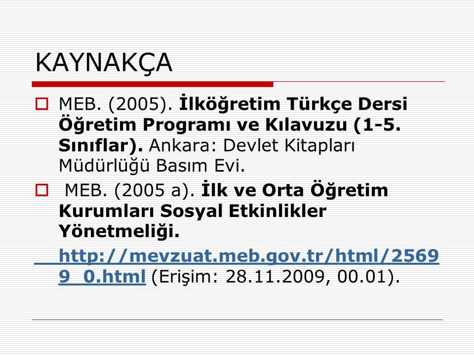KAYNAKÇA  MEB. (2005). İlköğretim Türkçe Dersi Öğretim Programı ve Kılavuzu (1-5.