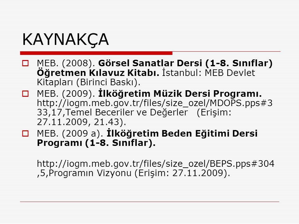 KAYNAKÇA  MEB. (2008). Görsel Sanatlar Dersi (1-8.