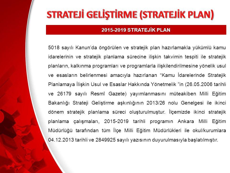 2015-2019 STRATEJİK PLAN 5018 sayılı Kanun'da öngörülen ve stratejik plan hazırlamakla yükümlü kamu idarelerinin ve stratejik planlama sürecine ilişkin takvimin tespiti ile stratejik planların, kalkınma programları ve programlarla ilişkilendirilmesine yönelik usul ve esasların belirlenmesi amacıyla hazırlanan Kamu İdarelerinde Stratejik Planlamaya İlişkin Usul ve Esaslar Hakkında Yönetmelik in (26.05.2006 tarihli ve 26179 sayılı Resmî Gazete) yayımlanmasını müteakiben Milli Eğitim Bakanlığı Strateji Geliştirme aşkınlığının 2013/26 nolu Genelgesi ile ikinci dönem stratejik planlama süreci oluşturulmuştur.