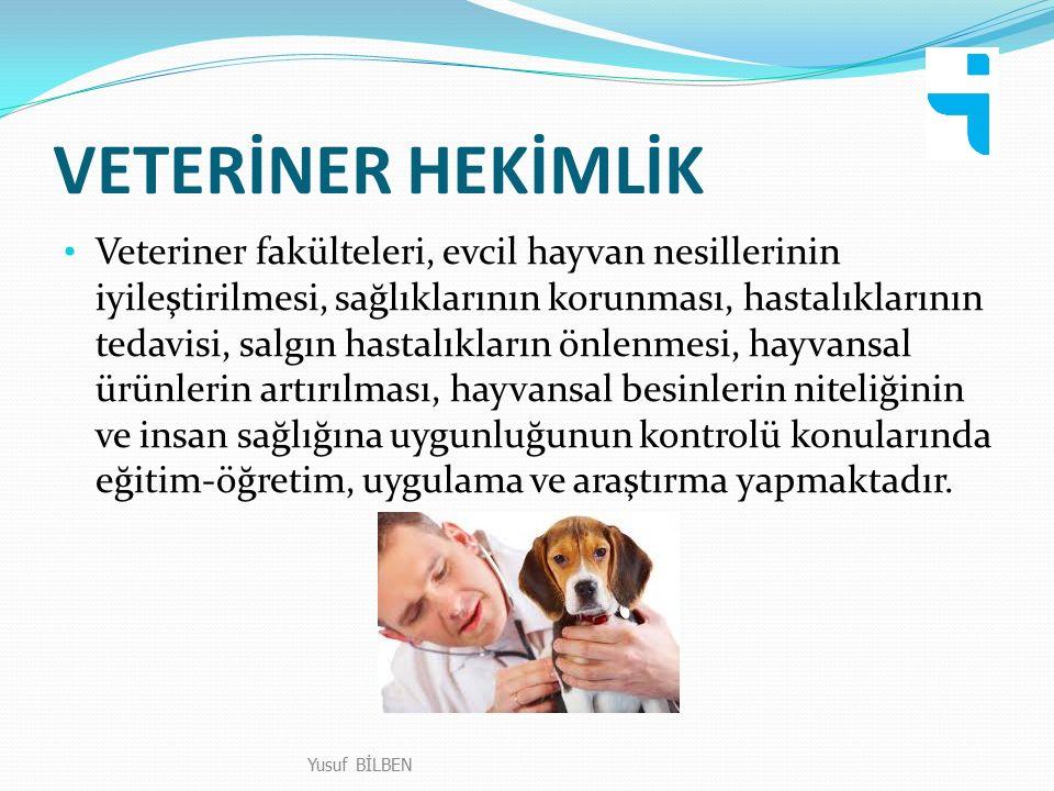 VETERİNER HEKİMLİK Veteriner fakülteleri, evcil hayvan nesillerinin iyileştirilmesi, sağlıklarının korunması, hastalıklarının tedavisi, salgın hastalıkların önlenmesi, hayvansal ürünlerin artırılması, hayvansal besinlerin niteliğinin ve insan sağlığına uygunluğunun kontrolü konularında eğitim-öğretim, uygulama ve araştırma yapmaktadır.