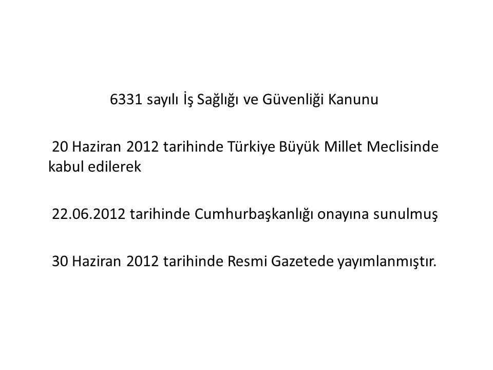 6331 sayılı İş Sağlığı ve Güvenliği Kanunu 20 Haziran 2012 tarihinde Türkiye Büyük Millet Meclisinde kabul edilerek 22.06.2012 tarihinde Cumhurbaşkanlığı onayına sunulmuş 30 Haziran 2012 tarihinde Resmi Gazetede yayımlanmıştır.