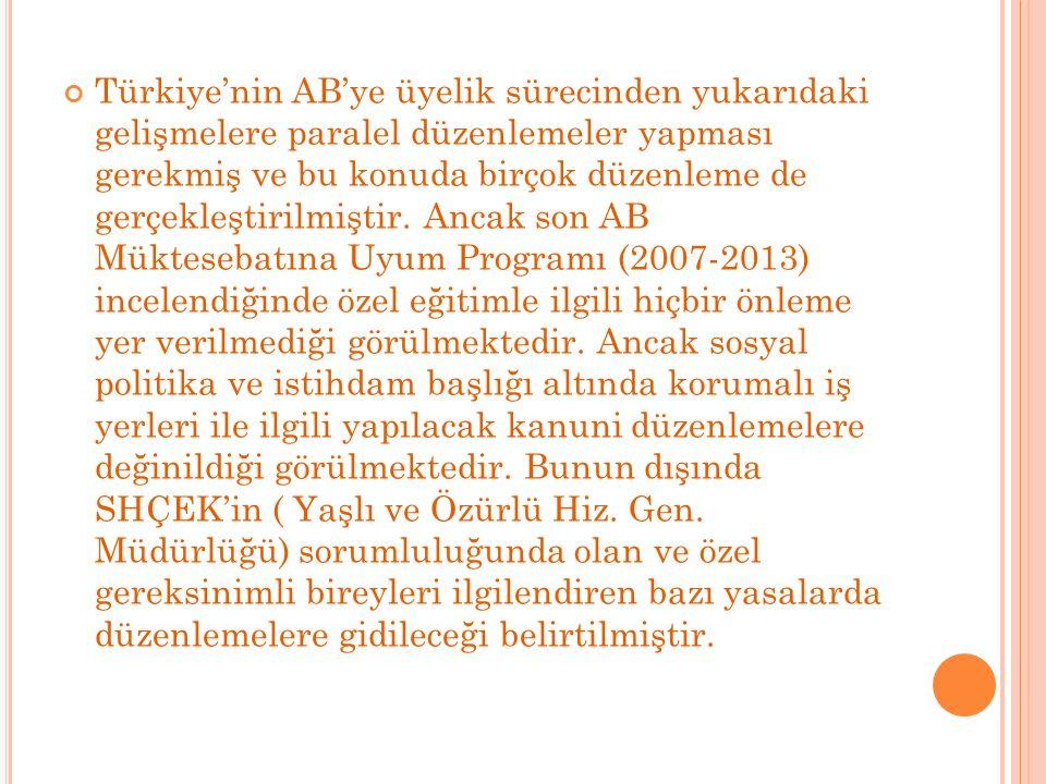 Türkiye'nin AB'ye üyelik sürecinden yukarıdaki gelişmelere paralel düzenlemeler yapması gerekmiş ve bu konuda birçok düzenleme de gerçekleştirilmiştir