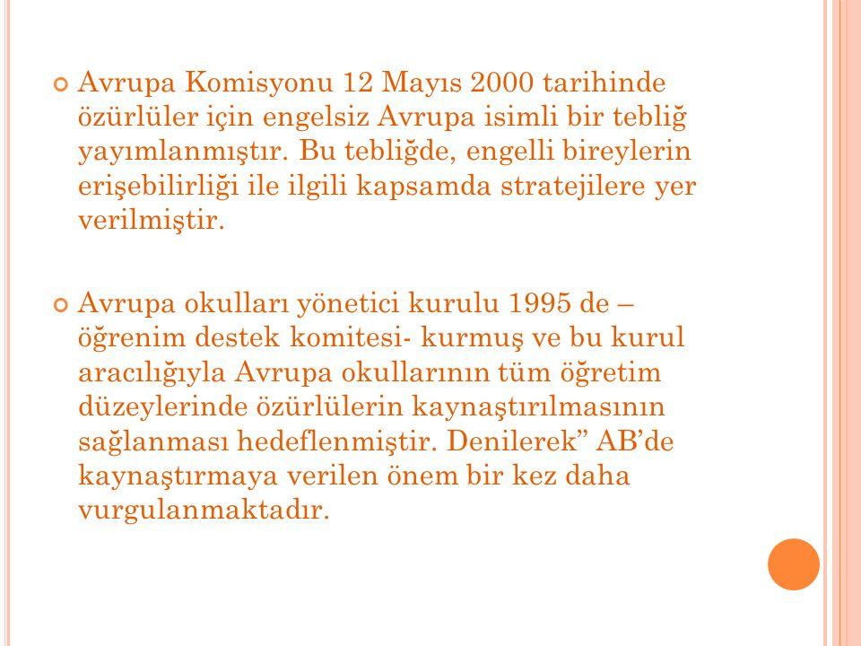 Avrupa Komisyonu 12 Mayıs 2000 tarihinde özürlüler için engelsiz Avrupa isimli bir tebliğ yayımlanmıştır.