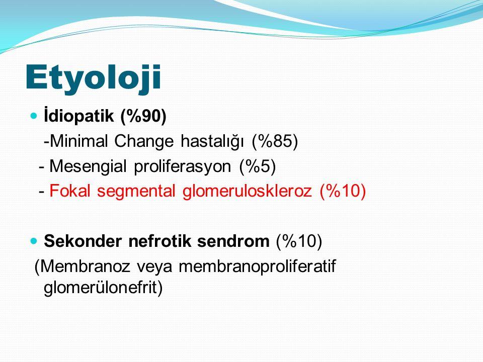 Etyoloji İdiopatik (%90) -Minimal Change hastalığı (%85) - Mesengial proliferasyon (%5) - Fokal segmental glomeruloskleroz (%10) Sekonder nefrotik sendrom (%10) (Membranoz veya membranoproliferatif glomerülonefrit)