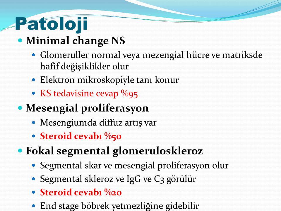 Patoloji Minimal change NS Glomeruller normal veya mezengial hücre ve matriksde hafif değişiklikler olur Elektron mikroskopiyle tanı konur KS tedavisine cevap %95 Mesengial proliferasyon Mesengiumda diffuz artış var Steroid cevabı %50 Fokal segmental glomeruloskleroz Segmental skar ve mesengial proliferasyon olur Segmental skleroz ve IgG ve C3 görülür Steroid cevabı %20 End stage böbrek yetmezliğine gidebilir