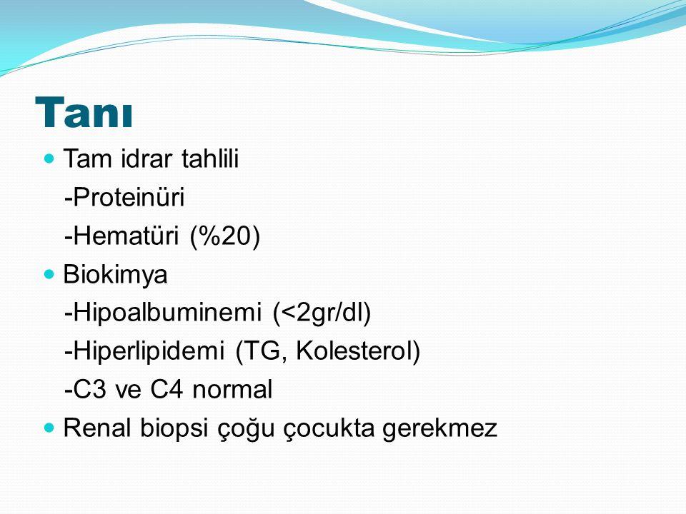 Tanı Tam idrar tahlili -Proteinüri -Hematüri (%20) Biokimya -Hipoalbuminemi (<2gr/dl) -Hiperlipidemi (TG, Kolesterol) -C3 ve C4 normal Renal biopsi çoğu çocukta gerekmez