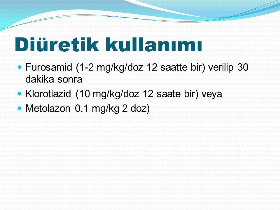 Diüretik kullanımı Furosamid (1-2 mg/kg/doz 12 saatte bir) verilip 30 dakika sonra Klorotiazid (10 mg/kg/doz 12 saate bir) veya Metolazon 0.1 mg/kg 2 doz)