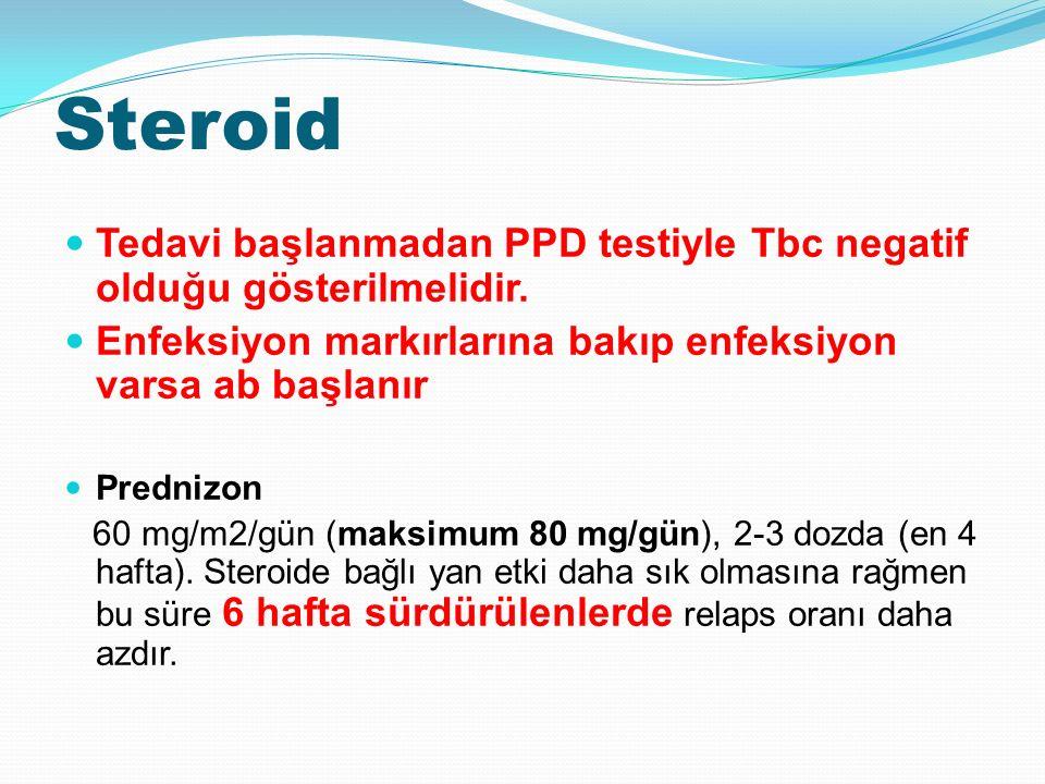 Steroid Tedavi başlanmadan PPD testiyle Tbc negatif olduğu gösterilmelidir.