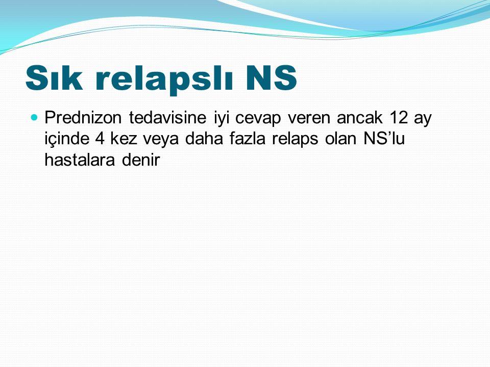 Sık relapslı NS Prednizon tedavisine iyi cevap veren ancak 12 ay içinde 4 kez veya daha fazla relaps olan NS'lu hastalara denir