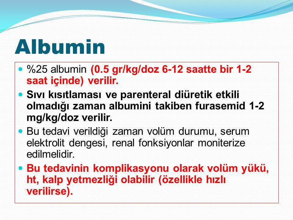 Albumin %25 albumin (0.5 gr/kg/doz 6-12 saatte bir 1-2 saat içinde) verilir.