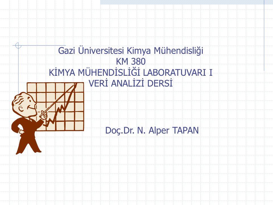 Gazi Üniversitesi Kimya Mühendisliği KM 380 KİMYA MÜHENDİSLİĞİ LABORATUVARI I VERİ ANALİZİ DERSİ Doç.Dr.